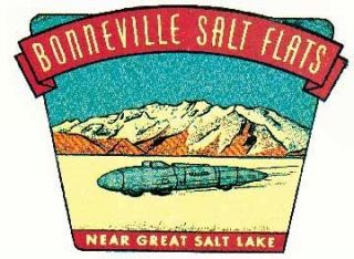 Bonneville Salt Flats UT Utah Hot Rod Vintage Style Travel Sticker