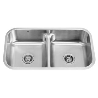 33 inch Undermount Stainless Steel 18 Gauge Double Bowl Kitchen Sink