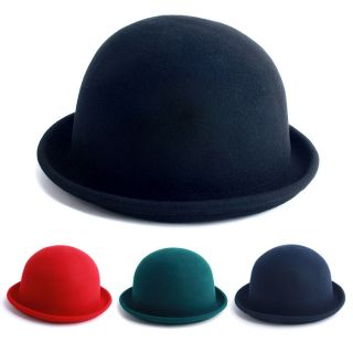New Cap Fashion Solid Color Derby Bowler Fedora Hat Unsex Style Wool