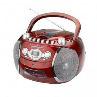 SUPERSONIC Red Portable BoomBox AM FM CD Player Radio Cassette