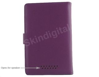 For Nook Tablet / Nook Color Purple Leather Case Cover Jacket + Screen