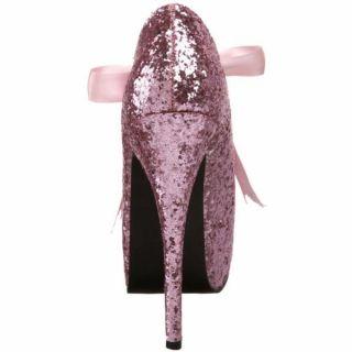Bordello High Heel Pink Glitter 5 3 4 Concealed Platform Pump Teeze