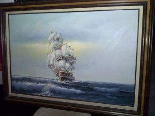 Boren Oil Painting Clipper SHIP at Sea