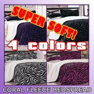 PC Zebra Super Soft Coral Fleece Borrego Blanket Bedspread Set Full
