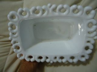 Vintage White Milk Glass Lace Edge Pedestal Vase Bowl