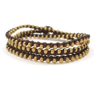 Wrap Mini Brass Beads Single Strand Brown Cotton Rope Bracelet