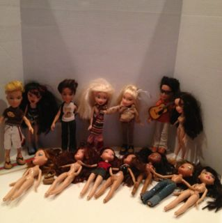 Large Bratz and Boyz Doll Lot and Carry Case