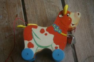 vintage fisher price bossy bell pull toy wood
