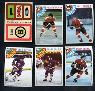 Hockey Set of 264 18 Stickers Bossy Lafleur Dryden Trottier NM
