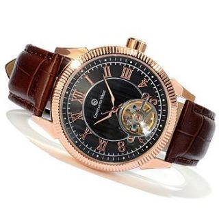 Constantin Weisz Mens Automatic Stainless Steel Open Heart Strap