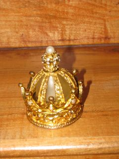 perfume bottle trinket box gold tone metal crown shape rhinestones