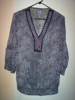 Womens Evolution Animal Print Sheer Shirt Bouse Top Plus Size 1X