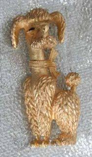 boucher 60s art moderne goldtone poodle dog brooch vintage 60s