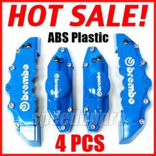 Blue Brembo Style Brake Caliper Cover Set Front and Rear 4 Pieces