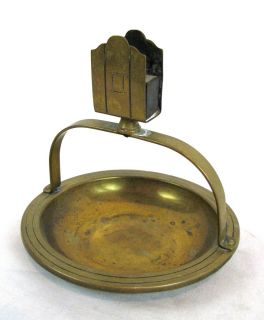 Vintage Solid Brass Art Deco Ashtray with Matchbox Holder 1940s
