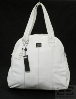 joe s jeans white leather bowler bag new