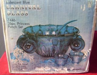 GLASS BLUE GRAPE CARNIVAL GLASS PRINCESS 26PC PUNCH BOWL SET UNUSED