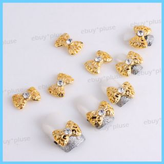 10x 3D Golden Alloy Rhinestones Bow Tie Nail Art Glitters Slices DIY