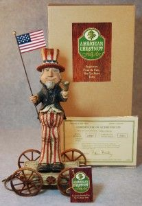 American Chestnut Folk Art Uncle Sam Liberty w Bell Pull Toy Figurine