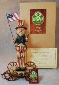 American Chestnut Folk Art Uncle Sam Liberty w Bell Pull Toy Figurine