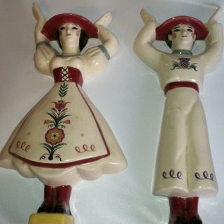 Vintage Brayton Laguna Weston Ware Pottery Man & Women Pair Wall