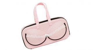 Braza Pink Black Polka Dot Bra Protector Travel Bag
