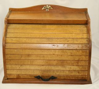 Vintage Wood Bread Box with Brass Metal Gold Eagle & Roll Up Door