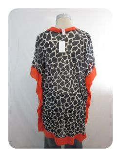 New Sweet Pea Black Multi Giraffe V Neck Batwing Mesh Shirt Medium $78
