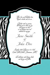 Zebra Print Wedding Invitation or Thank You Printable Card Party
