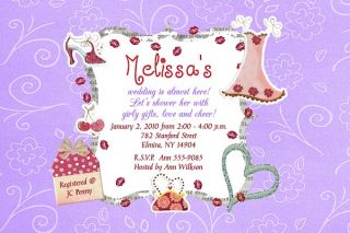 Bridal Shower Wedding Invitations Heart Diva Chic Girly Bride Invites