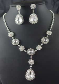 Bridal Bridesmaid CZ crystal necklace earring Sliver Jewelry sets 404