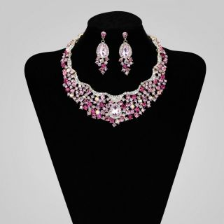 Rhinestone Crystal Bridal Wedding Choker Necklace Set Pink
