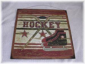 Hockey Champion Wooden Sports Sign boys bedroom wood wall decor skates