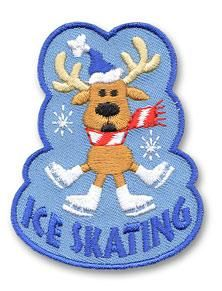 Girl Boy Cub Ice Skating Reindeer Fun Patches Crests Badges Scout