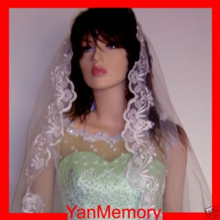 1T White Wedding Bridal Veil Cathedral Length Lace Trim Edge Bridal