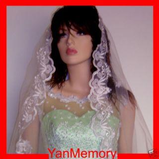 1T White Wedding Bridal Veil Cathedral Length Lace Trim Edge Bridal