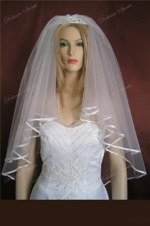 2T Elbow Diamond White Plain Bridal Veil Ribbon Edge