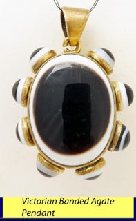 Antique Victorian Banded Agate Pendant Large Size 5188