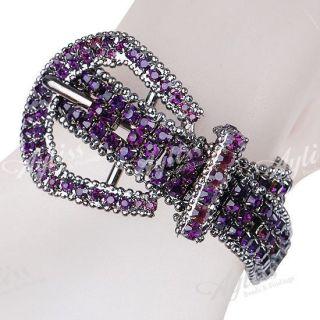 Purple Crystal Copper Jewelry Bracelet Cuff Adjustable