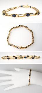Sapphire & Diamond Tennis Bracelet Solid 14K Gold Fine Estate Jewelry