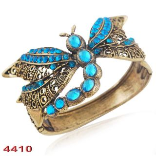 Dragonfly Cuff Bracelet Bangle Charms Acrylic Rhinestone