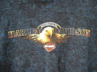 90s Harley Davidson Blue Acid Wash Eagle Shirt 2XL Bradenton, Flordia