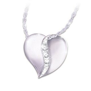 Heart Shaped Engraved Diamond Daughter Pendant Necklace My Precious