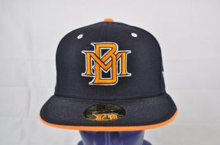 New Era MLB Milwakee Brewers Navy Blue Orange White MB Logo Fitted Hat