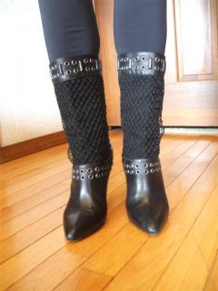 Brian Atwood Italy Couture Designer Black Leather Womens Boots EUR 39
