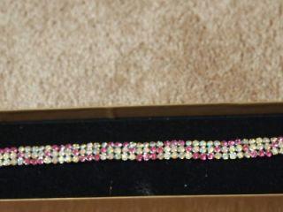 Brillant Pinks Aurora Borealis Rhinestone Bracelet Jewelry