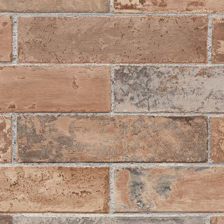 Red Rust Brick Wall Wallpaper/ Earth Tone Faux Stone Prepasted Vinyl