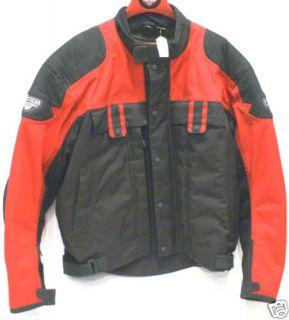 First Gear Red Black Trekker Mens Motorcycle Jacket XL