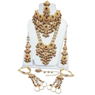 CZ Kundan Green Maroon Bridal Necklace Traditional Wedding Jewelry Set