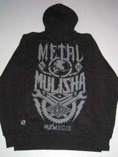 Wage Metal Mulisha Black Grey Hoodie Sweater Hooded Zip Hoody Mens